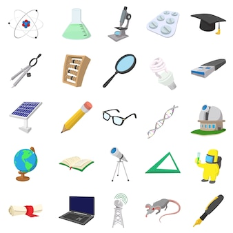 Science icons set in cartoon style isolated