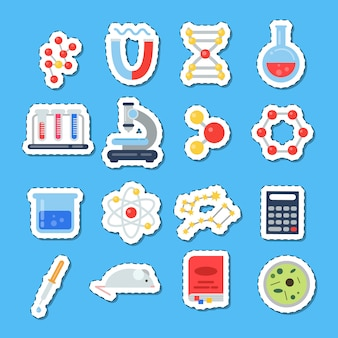 Science icons stickers with shadows set