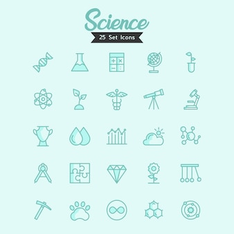 Science icons vector modern style