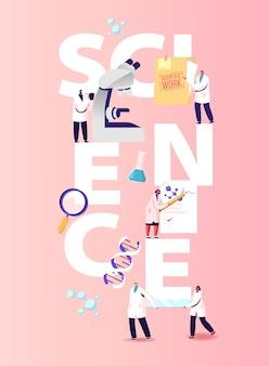 Иллюстрация науки. персонажи-ученые работают в лаборатории с медицинским оборудованием