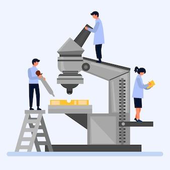 Illustrazione di scienza con microscopio e scienziati