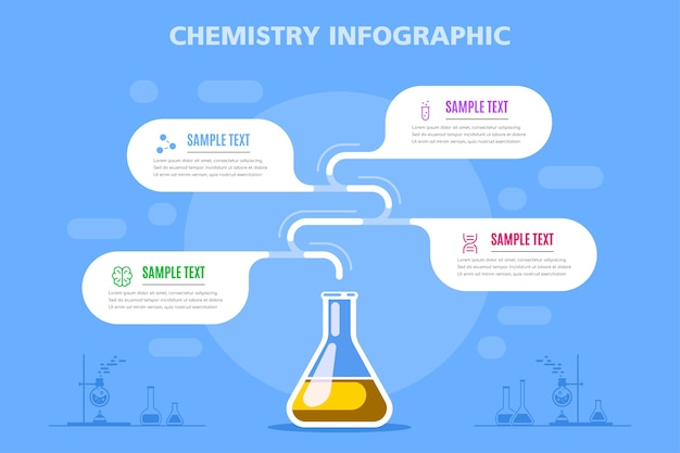 Science infographic with glass flask and 4 options