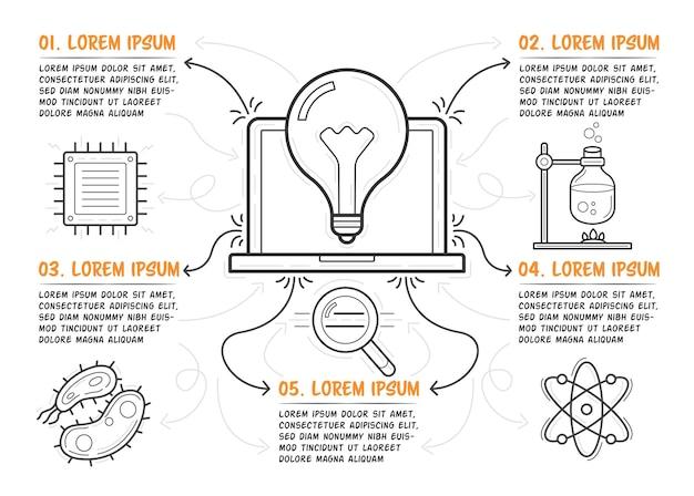 과학 인포 그래픽 템플릿입니다. 센터에 손으로 그린 노트북입니다. 설명이 포함된 5단계. 벡터 일러스트 레이 션.