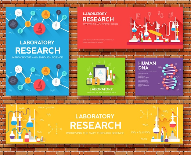 Science information cards set. laboratory template of flyear, magazines, posters, book, banners.