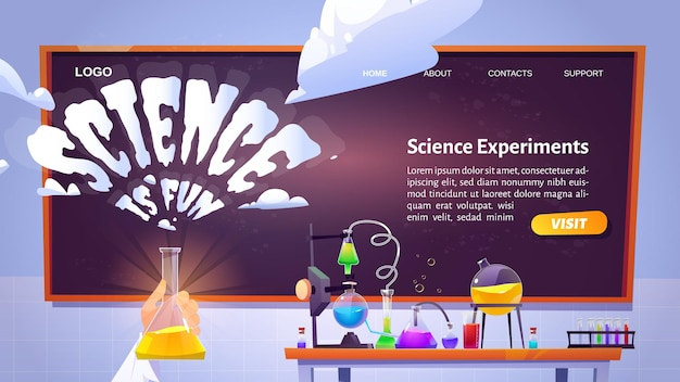 Science is fun cartoon landing page template with hand holding glass flask in chemical laboratory with equipment and blackboard on wall.