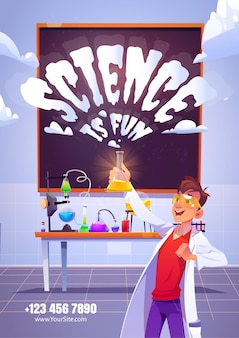 Science is fun cartoon poster with happy chemist holding glass flask, doing research test in chemical laboratory