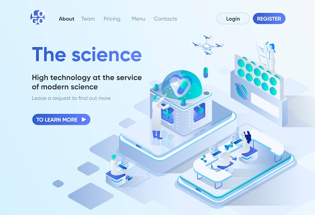 The science isometric landing page. scientific research and development, high technology in pharma industry. science laboratory template for cms and website. isometry scene with people characters.