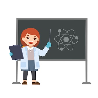 Science kid working with science tools in lab
