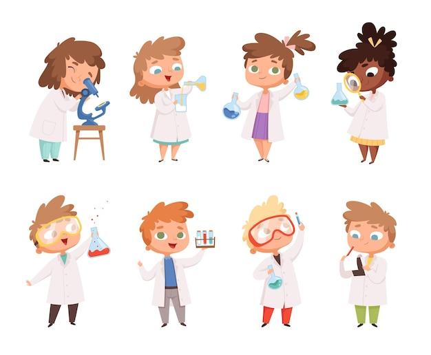 Science kids. childrens in chemistry lab boys and little girls  funny people.