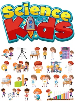 Science kids logo and set of children with education objects isolated