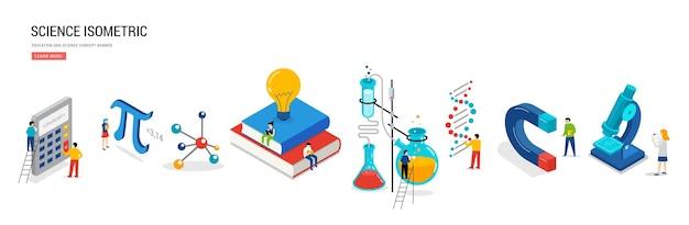 Научная лаборатория и школьный класс, сцена математики и химии с миниатюрными людьми-учениками
