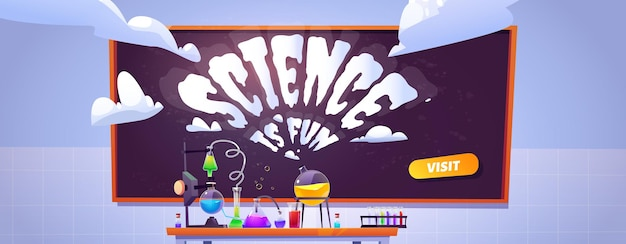 Banner di laboratorio di scienze per esperimenti di studio e di chimica per bambini.
