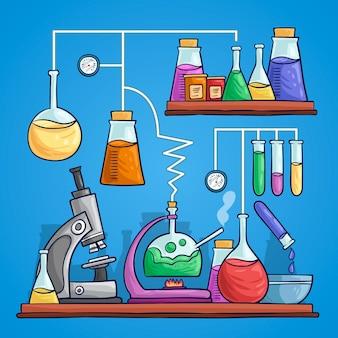 Научная лаборатория рисования дизайн