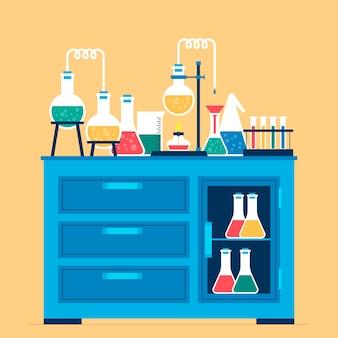 Science lab equipment flat design