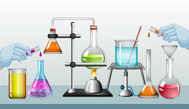 Science lab equipments on a desk