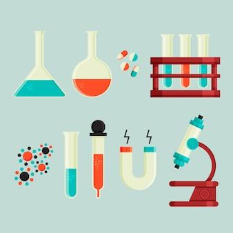 과학 실험실 플라스크 및 현미경
