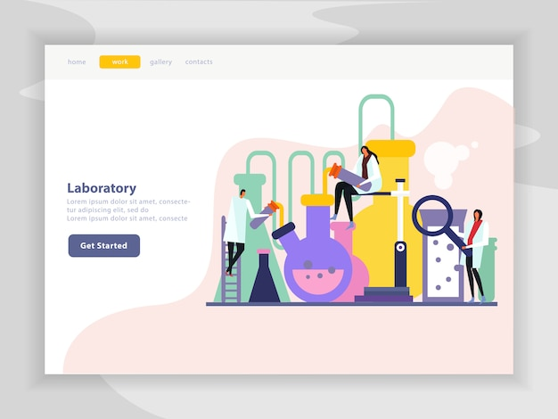 Science lab flat landing page of site with menu  image of chemical experiment