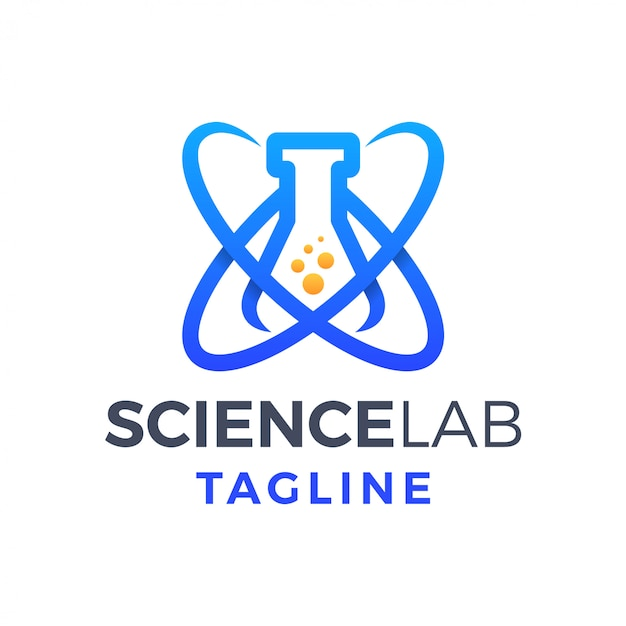 Science lab fun monoline gradient logo