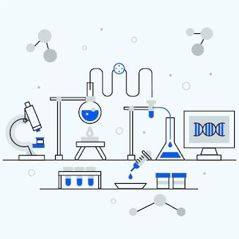 Научная лаборатория в плоском дизайне