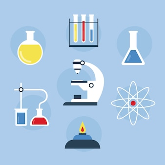 Science lab isolated objects on blue wallpaper