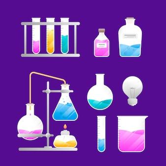 Laboratorio di scienza oggetti isolati su sfondo viola