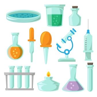 Design della collezione di oggetti di laboratorio di scienza