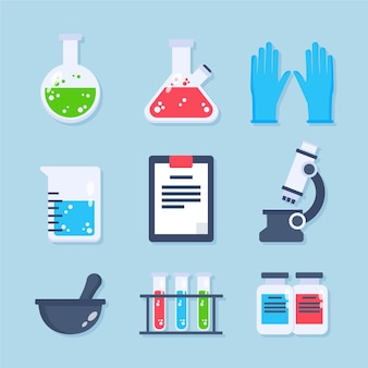 Science lab objects illustrated set