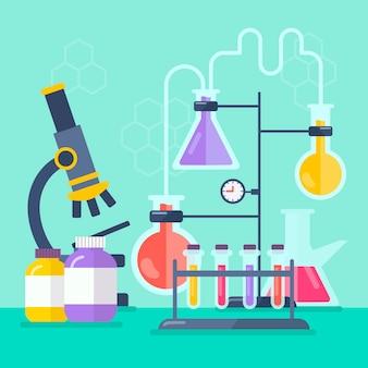 Illustrazione degli oggetti del laboratorio di scienza