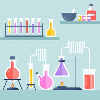Oggetti di laboratorio di scienza