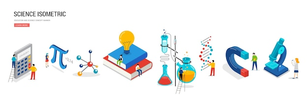Science lab and school class education mathematics chemistry scene with miniature people students