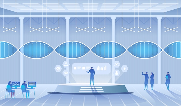 Научная лаборатория. ученые мужчина и женщина проводят исследования в