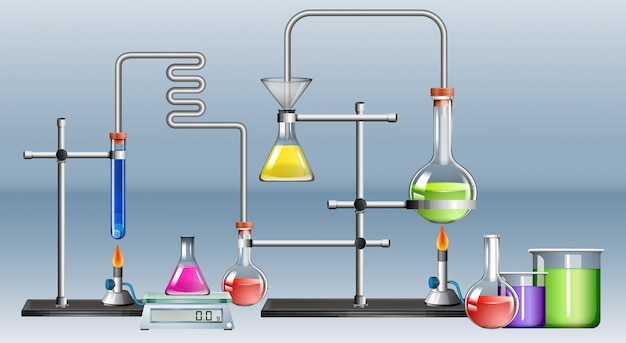 多くの機器を備えた科学実験室