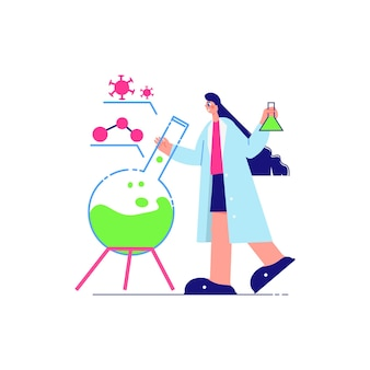 Science laboratory composition with character of female scientist with lab flask