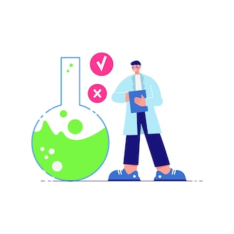 Science laboratory composition with male character of scientist and flask with green liquid