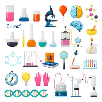 Science and laboratory equipment icons set of  illustrations. flasks, beakers, microscope, chemical formulas of dna, brains and scientifical research experiments supplies. scientists objects.