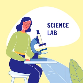 Science laboratory flat vector poster with text