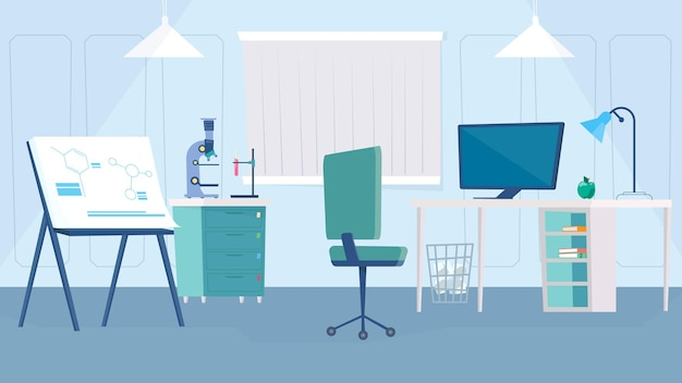Science laboratory interior concept in flat cartoon design. scientist workplace, desk with computer, chair, microscope and test tubes, presentation board. vector illustration horizontal background