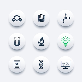 Science, laboratory study icons set