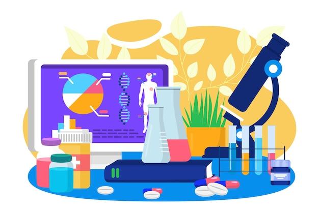 의학 분석, 벡터 일러스트레이션, 화학 연구와 혁신 실험실, 생명 공학에 의한 의학 실험이 있는 과학 실험실.