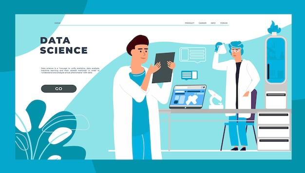 科学のランディングページ。科学的な研究と実験を行う漫画の科学者と医師。学生のためのベクトルのウェブページ