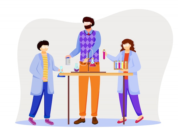 Science lesson flat illustration. conducting experiment with test tubes, laboratory flasks. children and chemistry teacher in lab coats isolated cartoon characters on white background