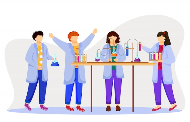 Science lesson   illustration. studying medicine, chemistry. conducting experiment. children in lab coats with test tubes, laboratory flasks  cartoon characters on white background