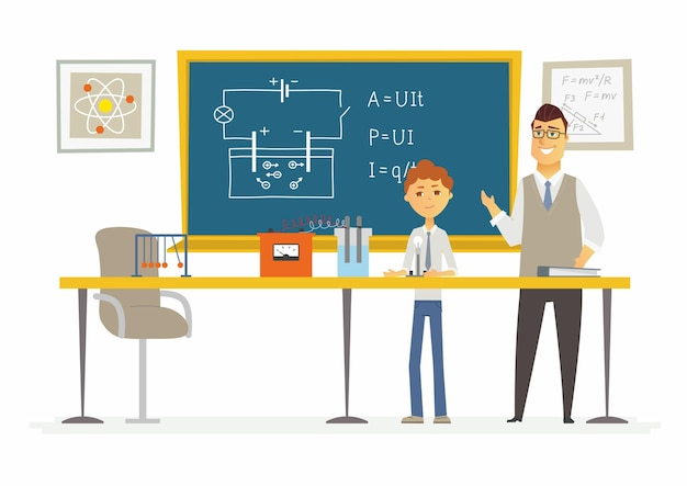 Science lesson at school - modern cartoon people characters illustration with a young teacher and a student speaking at the blackboard. classroom with different visual aids, desk, chair, formulas