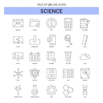 Набор значков линии науки - 25 пунктирный стиль