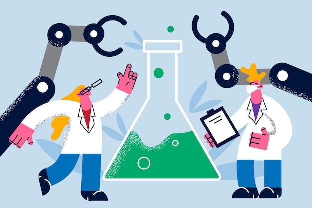 Наука, делая концепцию лабораторных исследований. двое молодых ученых, мужчина и женщина, вместе проводят исследования с огромной колбой в лаборатории, векторная иллюстрация