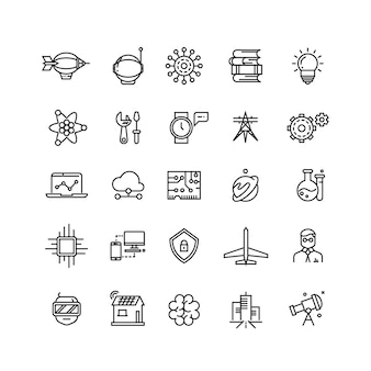 Science media and internet thin line vector icons