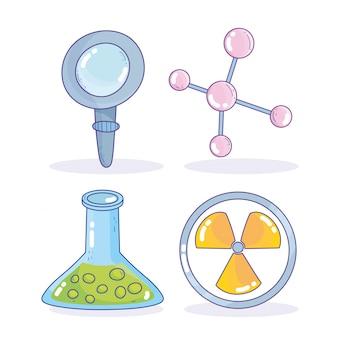 Science medicine nuclear magnifier atom beaker research laboratory