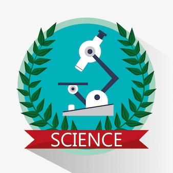 Science microscope biology equipment emblem