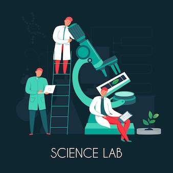 顕微鏡イラスト付き科学顕微鏡構成