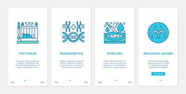 Science mouse experiment, petri dish and biohazard, ux, ui mobile app page screen set